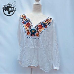 Merona boho embroidered semi-sheer peasant top S/P